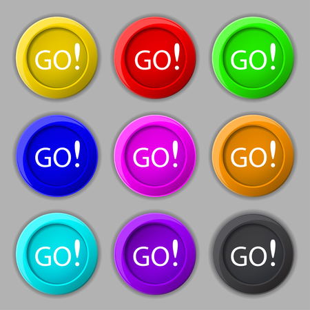proceed: GO sign icon. Set of colored buttons. illustration Stock Photo