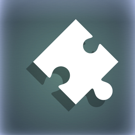 puzzle corners: Puzzle piece icon sign. On the blue-green abstract background with shadow and space for your text. illustration