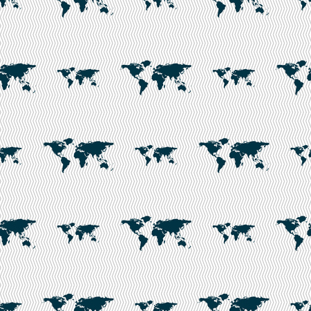 geography background: Globe sign icon. World map geography symbol. Seamless abstract background with geometric shapes. illustration
