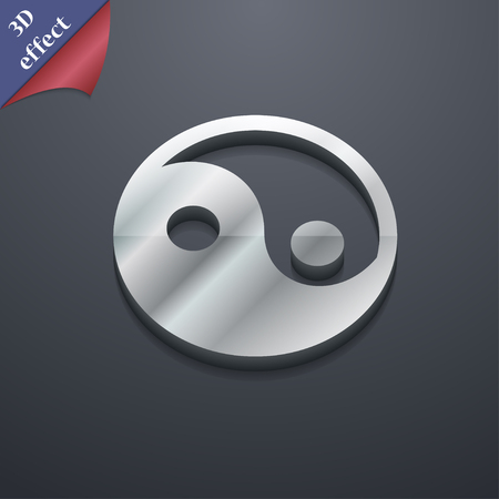 yinyang: Ying yang icon symbol. 3D style. Trendy, modern design with space for your text illustration. Rastrized copy