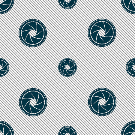 aperture: diaphragm icon. Aperture sign. Seamless pattern with geometric texture. illustration Stock Photo