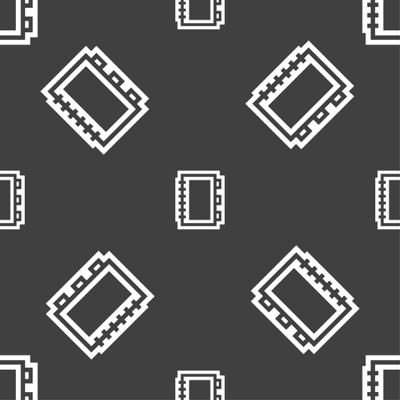 videobook: Book icon sign. Seamless pattern on a gray background. illustration