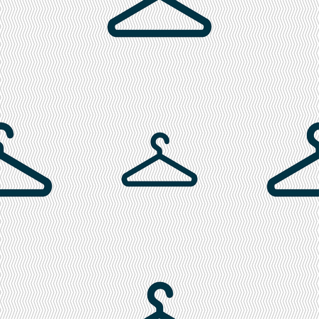 clothes hanger: clothes hanger icon sign. Seamless pattern with geometric texture. illustration