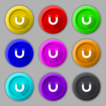 electromagnetism: magnet sign icon. horseshoe it symbol. Repair sign. Set of colored buttons illustration Stock Photo