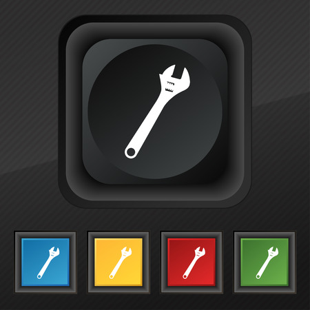 tweak: wrench icon symbol. Set of five colorful, stylish buttons on black texture for your design. illustration Stock Photo