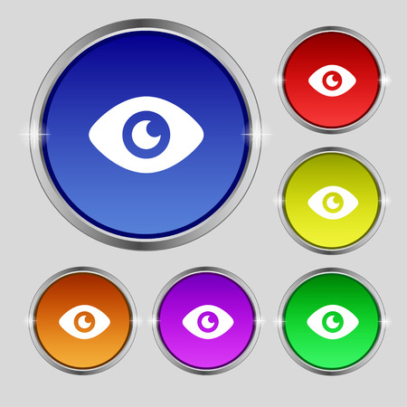 publish: Eye, Publish content icon sign. Round symbol on bright colourful buttons. illustration