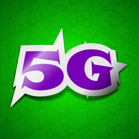 5g: 5G technology icon sign. Symbol chic colored sticky label on green background. illustration