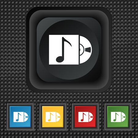 cd player: cd player icon sign. symbol Squared colourful buttons on black texture. illustration