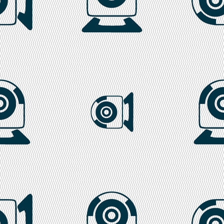 video chat: Webcam sign icon. Web video chat symbol. Camera chat. Seamless abstract background with geometric shapes. illustration Stock Photo