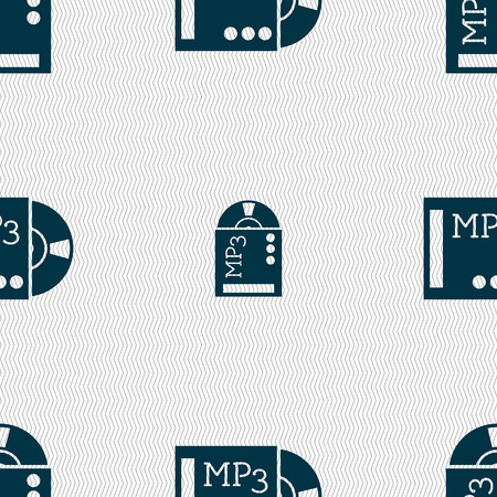 crystal button: mp3 player icon sign. Seamless abstract background with geometric shapes. illustration Stock Photo