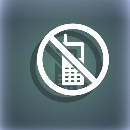 cell phones not allowed: mobile phone is prohibited icon symbol on the blue-green abstract background with shadow and space for your text. illustration