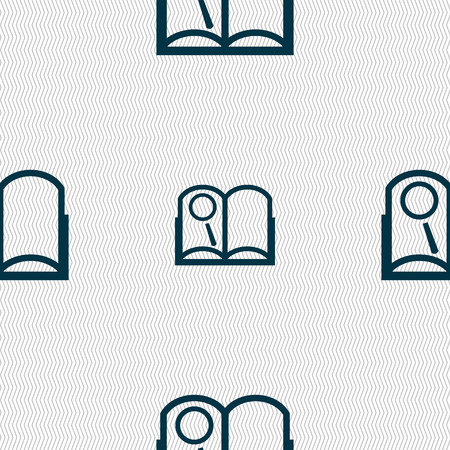 reading app: Book sign icon. Open book symbol. Seamless abstract background with geometric shapes. illustration