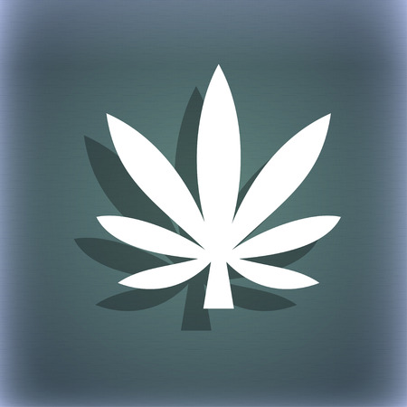 cannabinol: Cannabis leaf icon symbol on the blue-green abstract background with shadow and space for your text. illustration