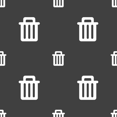 papelera de reciclaje: Reciclar el icono signo bin. patr�n transparente sobre un fondo gris. ilustraci�n