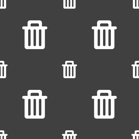recyclable waste: Recycle bin icon sign. Seamless pattern on a gray background. illustration