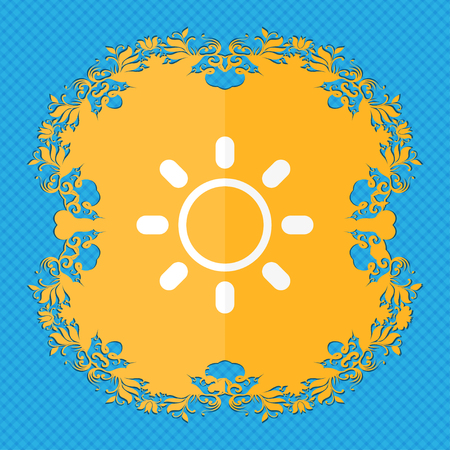 brightness: Brightness icon sign. Floral flat design on a blue abstract background with place for your text. illustration