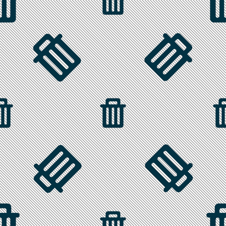 litter bin: Recycle bin icon sign. Seamless pattern with geometric texture. illustration Stock Photo