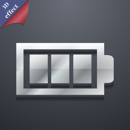 fully: Battery fully icon symbol. 3D style. Trendy, modern design with space for your text illustration. Rastrized copy