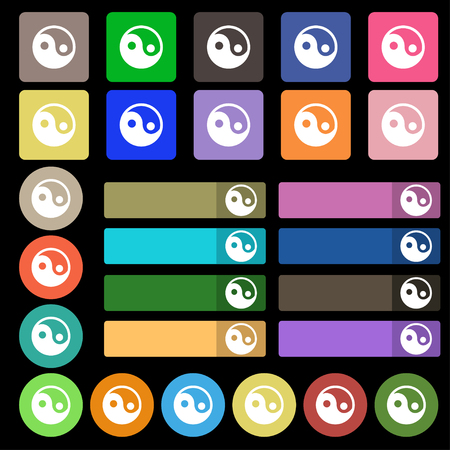 yinyang: Ying yang icon sign. Set from twenty seven multicolored flat buttons. illustration