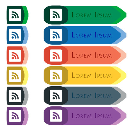 rss feed: RSS feed icon sign. Set of colorful, bright long buttons with additional small modules. Flat design.