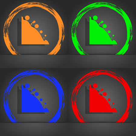 tumble down: Rockfall icon. Fashionable modern style. In the orange, green, blue, red design. illustration Stock Photo