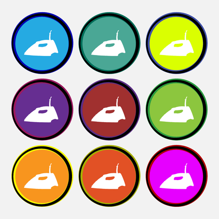 flatiron: Iron icon sign. Nine multi colored round buttons. illustration