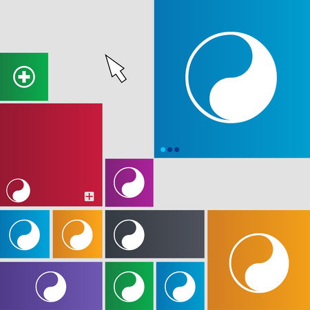 karma concept: Yin Yang icon sign. buttons. Modern interface website buttons with cursor pointer. illustration