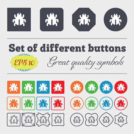 bedbug: Software Bug, Virus, Disinfection, beetle icon sign. Big set of colorful, diverse, high-quality buttons. illustration Stock Photo