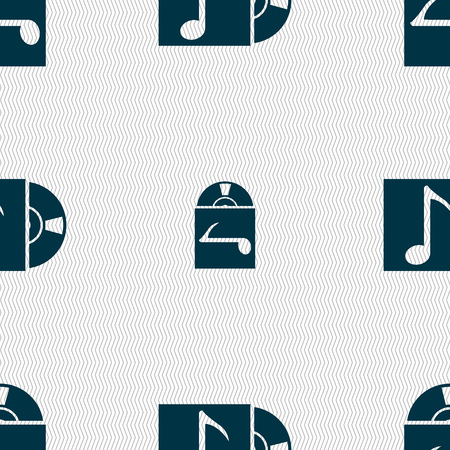 cd player: cd player icon sign. Seamless abstract background with geometric shapes. illustration Stock Photo