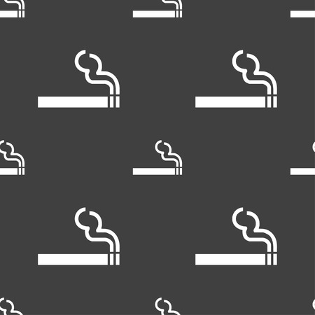 smoldering cigarette: cigarette smoke icon sign. Seamless pattern on a gray background. illustration Stock Photo