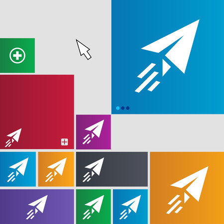 paper airplane: Paper airplane icon sign. buttons. Modern interface website buttons with cursor pointer. illustration