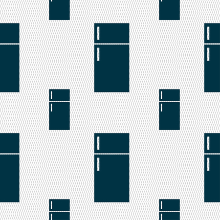 cold storage: Refrigerator icon sign. Seamless pattern with geometric texture. illustration