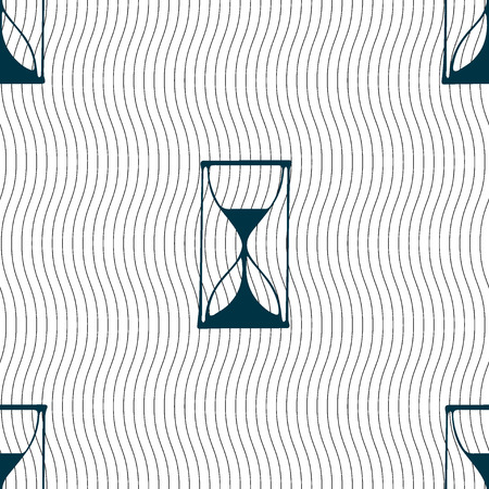 sand timer: Hourglass sign icon. Sand timer symbol. Seamless pattern with geometric texture. illustration Stock Photo