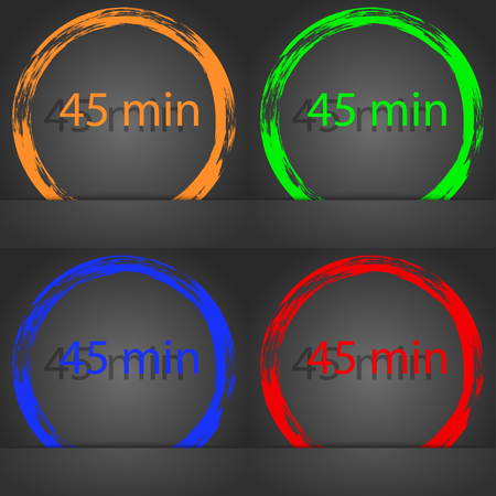 45: 45 minutes sign icon. Fashionable modern style. In the orange, green, blue, red design. illustration