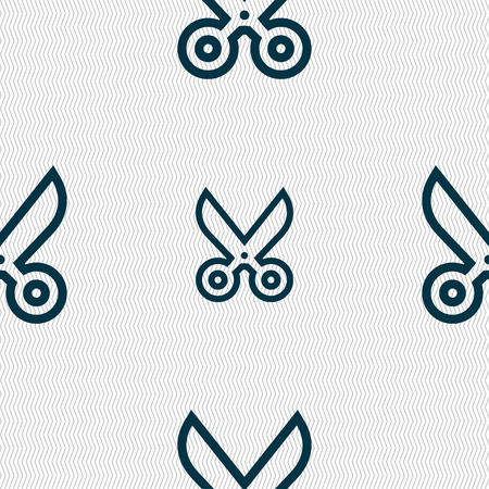 snip: scissors icon sign. Seamless pattern with geometric texture. illustration Stock Photo