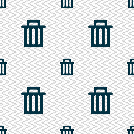 Recycle bin icon sign. Seamless pattern with geometric texture. illustration Stock Photo