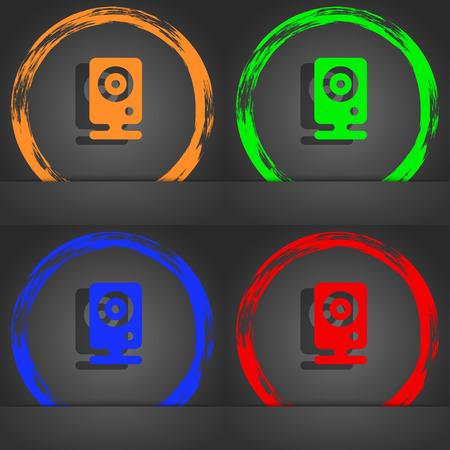 web cam: Web cam icon symbol. Fashionable modern style. In the orange, green, blue, green design. illustration