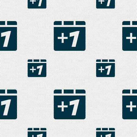 append: Plus one, Add one icon sign. Seamless pattern with geometric texture. illustration