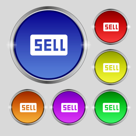 contributor: Sell, Contributor earnings icon sign. Round symbol on bright colourful buttons. illustration