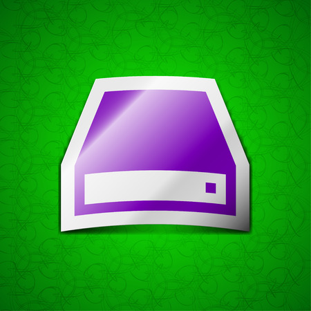 dvd rom: CD-ROM icon sign. Symbol chic colored sticky label on green background. illustration Stock Photo