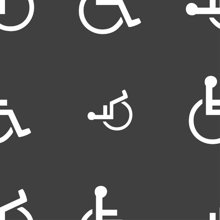 parking facilities: disabled icon sign. Seamless pattern on a gray background. illustration Stock Photo