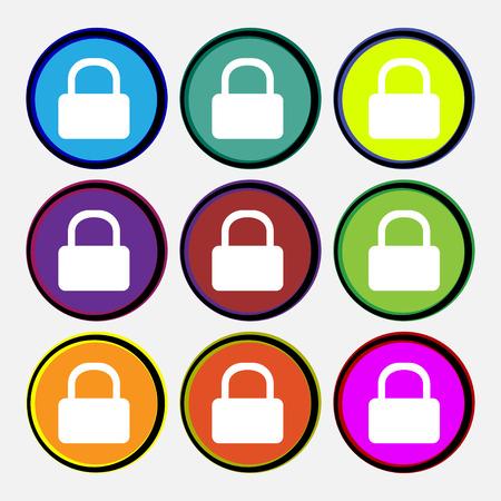 pad lock: Pad Lock icon sign. Nine multi-colored round buttons. illustration Stock Photo