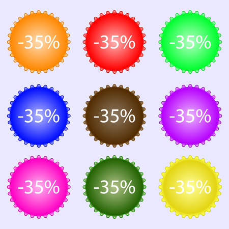 35: 35 percent discount sign icon. Sale symbol. Special offer label. A set of nine different colored labels. illustration Stock Photo