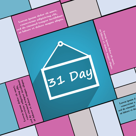 31: Calendar day, 31 days icon symbol Flat modern web design with long shadow and space for your text. illustration
