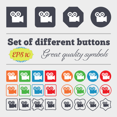 journalistic: video camera icon sign. Big set of colorful, diverse, high-quality buttons. illustration