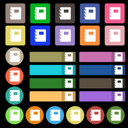 reading app: Book icon sign. Set from twenty seven multicolored flat buttons. illustration