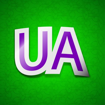 slavonic: Ukraine icon sign. Symbol chic colored sticky label on green background. illustration
