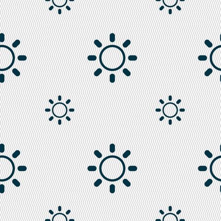 brightness: Brightness icon sign. Seamless pattern with geometric texture. illustration
