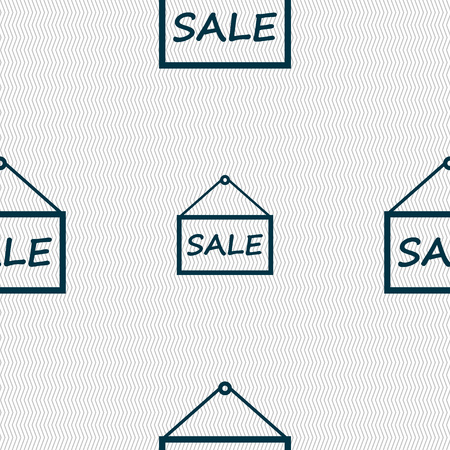 sales representative: SALE tag icon sign. Seamless abstract background with geometric shapes. illustration