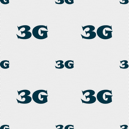 3g: 3G sign icon. Mobile telecommunications technology symbol. Seamless abstract background with geometric shapes. illustration